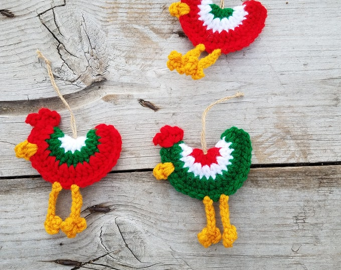 Chicken Ornament,Ready To Ship,Red Green and White Christmas Ornament,Christmas Ornament,Ornament Set,Christmas Ornament Set,Farmhouse Decor
