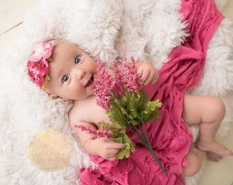 Pretty Pink Petals- pink fuchsia magenta chiffon and singed satin rose flower headband bow