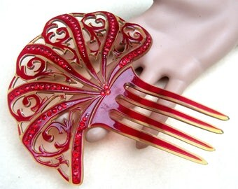Art Deco hair comb hot red hair accessory hair fork headdress headpiece decorative comb hair ornament hair jewelry