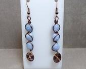 Blue and Copper Gemstone earrings - Swirl Earrings - Agate Earrings - Blue Earrings - Free US Shipping