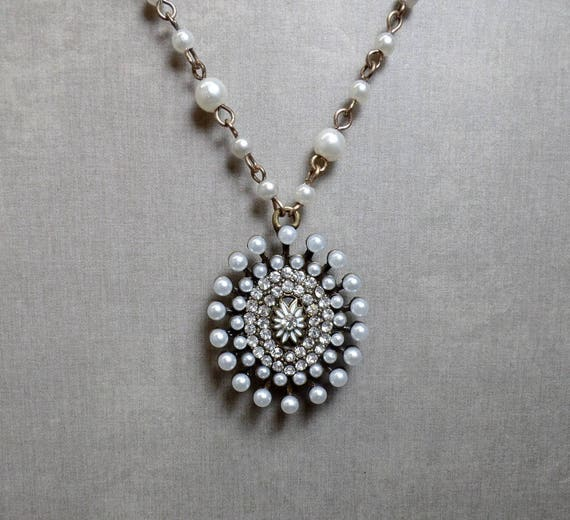 Victorian Style Pearl Necklace - Pearl Beaded Necklace - Antique Style Pendant Necklace - Starburst Pendant Necklace - Free US Shipping