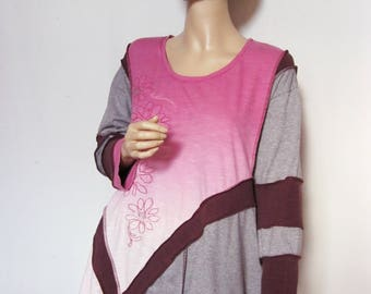 SALE  1X to 2X  Pink and Grey Tunic