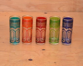 Set Of Five Multi Colored Moroccan Glasses, With Golden Floral Detail