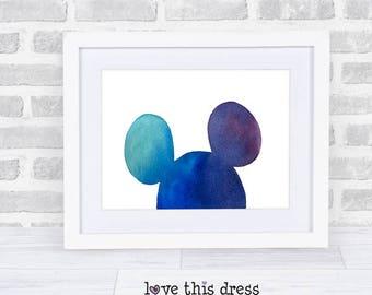 Mickey Ears  Disney Watercolor - Fine Art Print - Choose Size