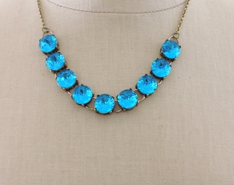 Vintage Necklace - Statement Necklace - Crystal Necklace - Blue Necklace - Wedding Necklace - Brass Necklace - handmade jewelry