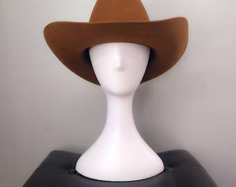"Vintage 1960s DORIAN Authentic 7X Cowboy Hat 22.5"" (7 1/8) M South Africa Caramel Brown stetson tan beige xmas"