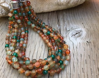 Statement Necklace, Multi Strand Necklace, Beaded Necklace, Carnelian Beads, Agate Beads, Colorful Necklace, Bold Necklace