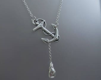 Sideways Anchor Necklace, Silver Anchor Pendant, Silver Pyrite Necklace, Pyrite Necklace, Anchor Jewelry, Refuse to Sink, Gifts Under 25