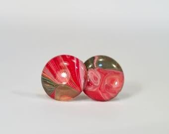 Abstract Paint Drip Earrings Fluid Painting Jewelry Studs Painted Earrings Resin Swirl Hypoallergenic stud earrings