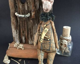 Original OOAK Art Doll Aiplane Pilot Curiosity Cabinet Oddity Macabre Handmade Horror Figure Weird Sculpture Gothic Strange