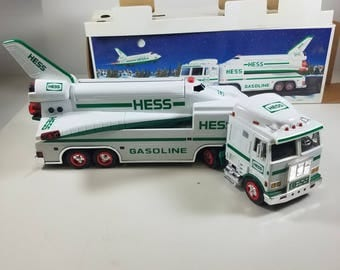 1999 Hess Toy Truck and Space Shuttle with Satellite Toy Vehicle Christmas Holiday