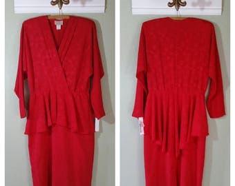 1980s Pellini by Von Bramlett Long Sleeved Dress with peplem, Size M, #41027