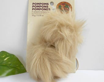 Fur Pompom Lion Brand Beige Brown Tan Hat Topper Toys Teddy Bear Animal, Lion Tail Elastic Band Attached New