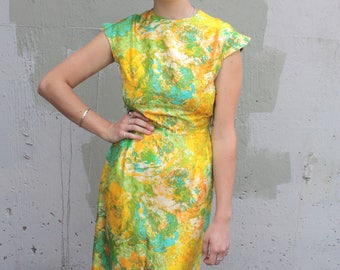 Vintage 1960's Dress // 50s 60s Yellow and Green Abstract Floral Print Silk Wiggle Dress with Cap Sleeves