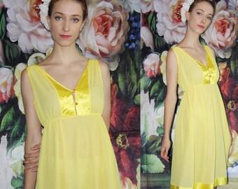 Vintage  1990s Sunshine Yellow Babydoll Satin Trimmed Sheer Slip Dress - 90s Clothing - WV0393