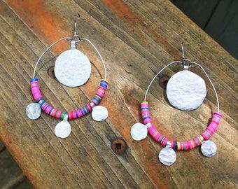 Coin and pink African Vinyl hoop earrings