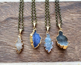 Gold Brass Colorful Leaf Druzy Necklace/ Natural Crystal Quartz Druzy Stone/ Must Have Gift Stylish Fashion Layering Piece (EP-BNQ12)