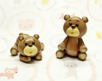Cold Porcelain Teddy Bear Figurine, Teddy Bear Cake Topper, Baby Shower Cake Topper, Baby Birthday Cake Topper, Brown Bear Clay Sculpture