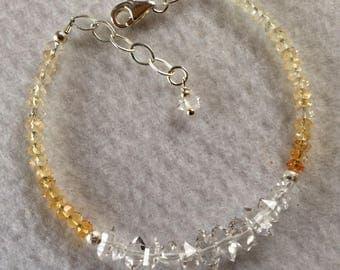 Herkimer diamond and Citrine bracelet with .925 silver
