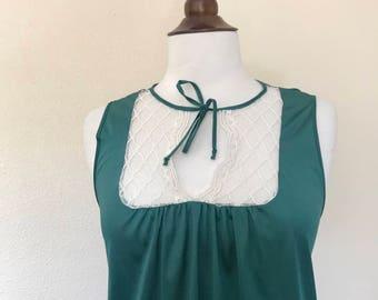 vintage green lace bib tie collar silky babydoll dress sz S