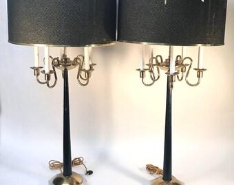 PARZINGER ? Pair Lamps MONUMENTAL Hollywood Regency CANDELABRA Glam