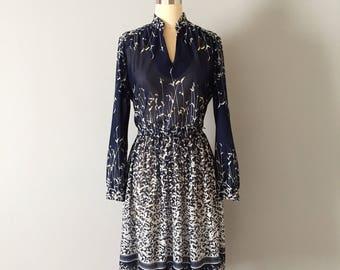 PRAIRIE MEADOWS dress | 1970s midnight blue semi sheer | whimsical bohemian day dress