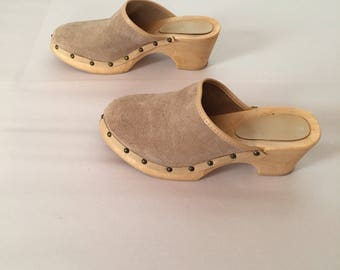 sand nude suede clogs | 1970s studded platform clogs | made in Italy | 8.5