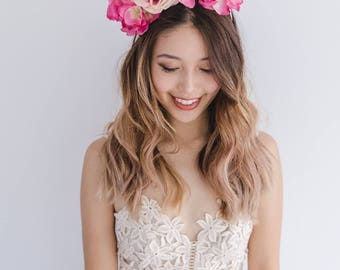 pink spring racing flower crown // statement flower crown / spring flower crown / spring racing flower fascinator / flower crown fascinator