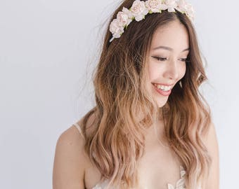 pale blush flower crown headband / blush flower crown / light blush neutral spring racing, simple classic flower crown, spring, everyday
