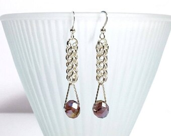 Silver Persian Beaded Chain Maille Earrings with Amethyst Crystals