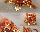 Orange Bohemian Gypsy Bracelet Boho Bracelet Multi Layer Bracelet Bohemian Jewelry Heart Bracelet Summer Boho Jewelry Fire Bracelet