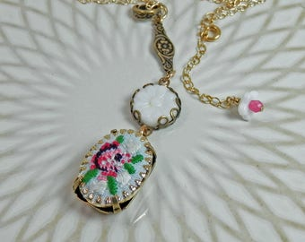 Vintage Floral Needlepoint and Flower Glass Pendant on Gold Filled Chain
