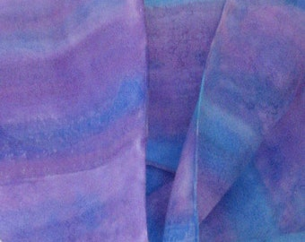 Purple hand painted silk scarf blue aqua tones striped 8x54 Canadian design