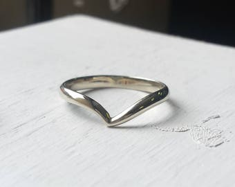Curving 'V' Ring - Zora Sapphire Matching Wedding Band - Silver or 14kt White or Yellow Gold - Minimalist