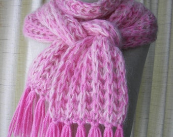 Hand Knit Oversized Long RIB Scarf Hat 100% WOOL MOHAIR in Rose / Ready to ship