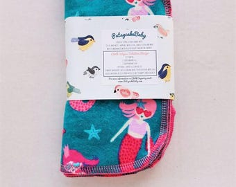 Cotton flannel baby wipes or wash cloths with mermaids, double layer, set of 6, underwater, ocean, girls