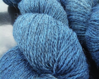 Overdyed Blue/Grey Farm Fresh 70/30 Jacob Wool and Mohair Sport Weight Yarn, approx 4 oz/400 yards