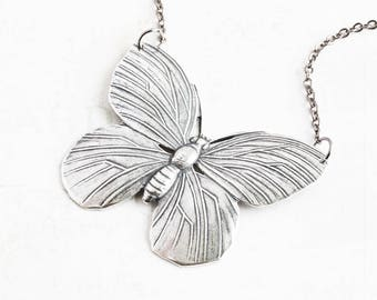 Large Oxidized Silver Plated Butterfly Pendant Necklace on Gunmetal Chain