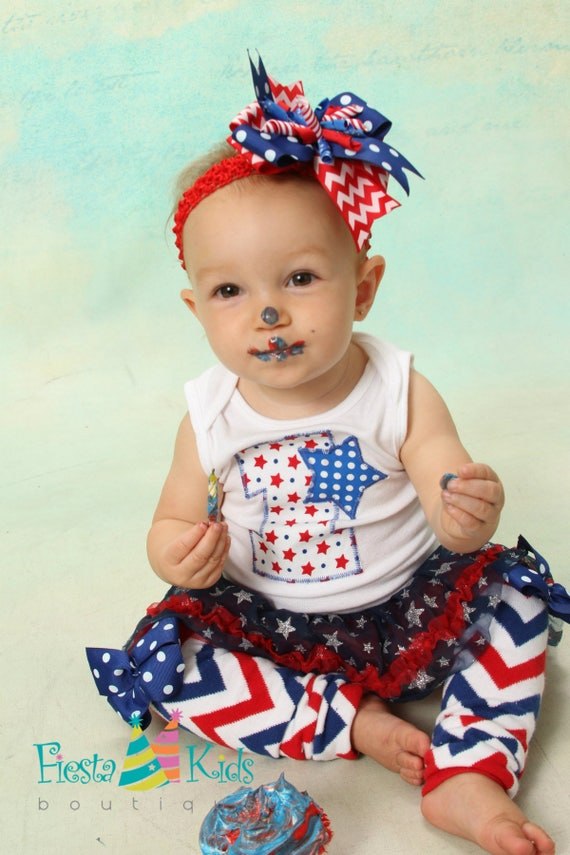 Birthday Outfit Girl 1 Baby Girl 4th Of July Red White And Blue