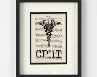 Pharmacy Technician Gift - CPHT Over Vintage Pharmacy Book Page - Pharmacy Tech,  Pharmacy Graduation, Pharmacy Student, Pharmacy Gift