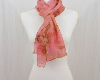 Hand Painted Chiffon Silk Scarf, Salmon, Pink, Brown, Whimsical, Gift for Her, Boho, Hippie, Abstract Scarf, Watercolor Scarf, OOAK