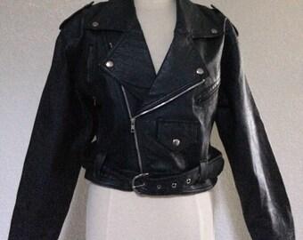 Vintage Women's Large Black Leather Cropped Motorcycle Jacket - Belted Moto Jacket