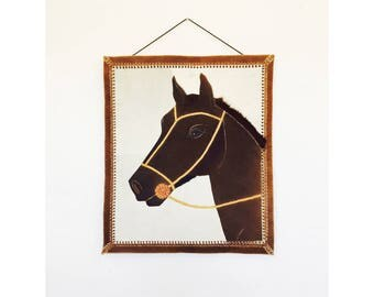 Vintage Horse Portrait Stitched Hide Wall Hanging