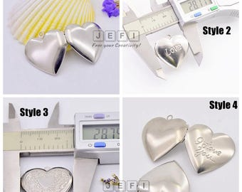 Wholesale 10 316L Stainless Steel Heart Lockets Photo Frame Base Setting Pendant Locket- 4 styles available- Blank/ Love/ I Love You/ Floral