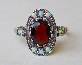 Gorgeous Garnet and Fire Opal Antique Style Ring in Sterling Silver Size 8 // Semiprecious Gemstone Art Deco Victorian Edwardian Bridal Boho