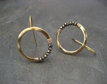 Pyrite hoops, gold hoops, faceted pyrite, crescent earrings, pyrite earrings, moon earrings, beaded hoops, sparkly hoops, circle earrings