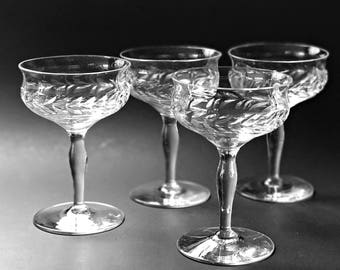 2 Crystal Coupes Champagne Glasses Vintage Chic Crystal Champagne Cocktail Glasses Bryce Crystal Stemware