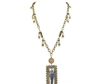 Steel Cut Buckle Art Nouveau Lady Assemblage Necklace