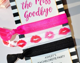 Hair Tie Kiss The Miss Goodbye, Bachelorette Party Favors, Wedding Favor, Bridal Shower Favor, Bridesmaid Hair Ties, Creaseless Hair Tie