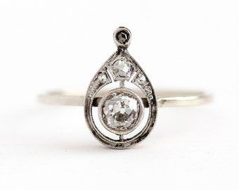 Antique Diamond Ring - 14k Gold & Platinum Vintage Victorian Size 7 Stick Pin Conversion - Vintage Pear Shaped Fine Old Cut Gemstone Jewelry